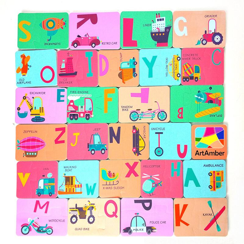 Baby EVA foam puzzle bath toy for kids with alphabet vehicle