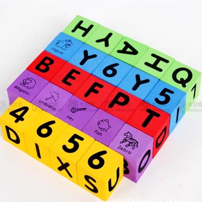 Custom design educational alphabet number printing eva foam dice toy