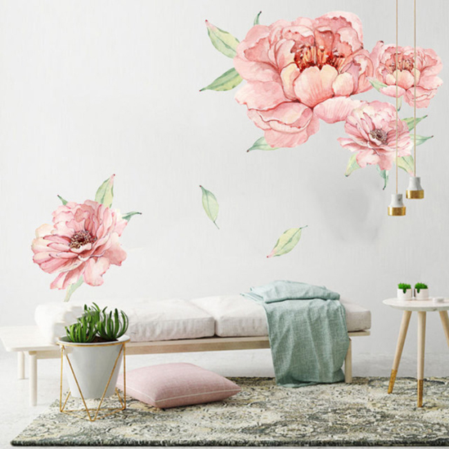 Large flower PVC wall sticker waterproof Great for Nursery Decor, Girls Bedroom Wall Decorations