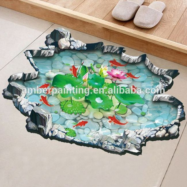 2016 New design custom size home decoration 3d floor sticker