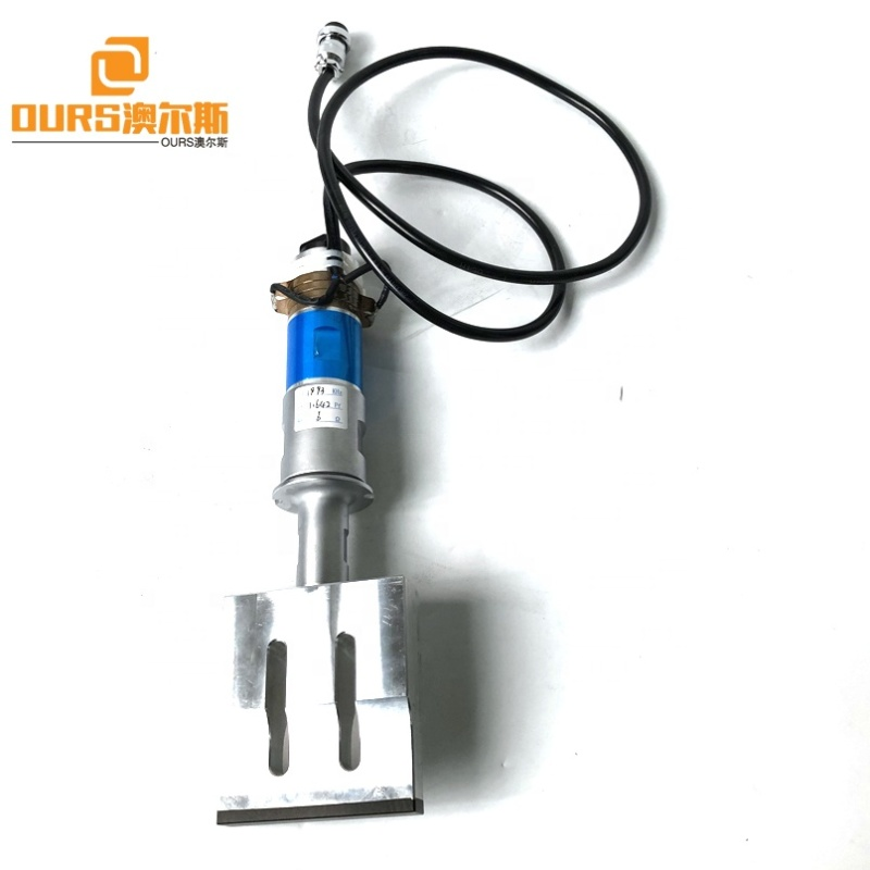 PZT8 Piezoceramic Ultrasonic Welding Transducer With Horn 20K 2000W For 110x20mm Face Mask Sealing Machine