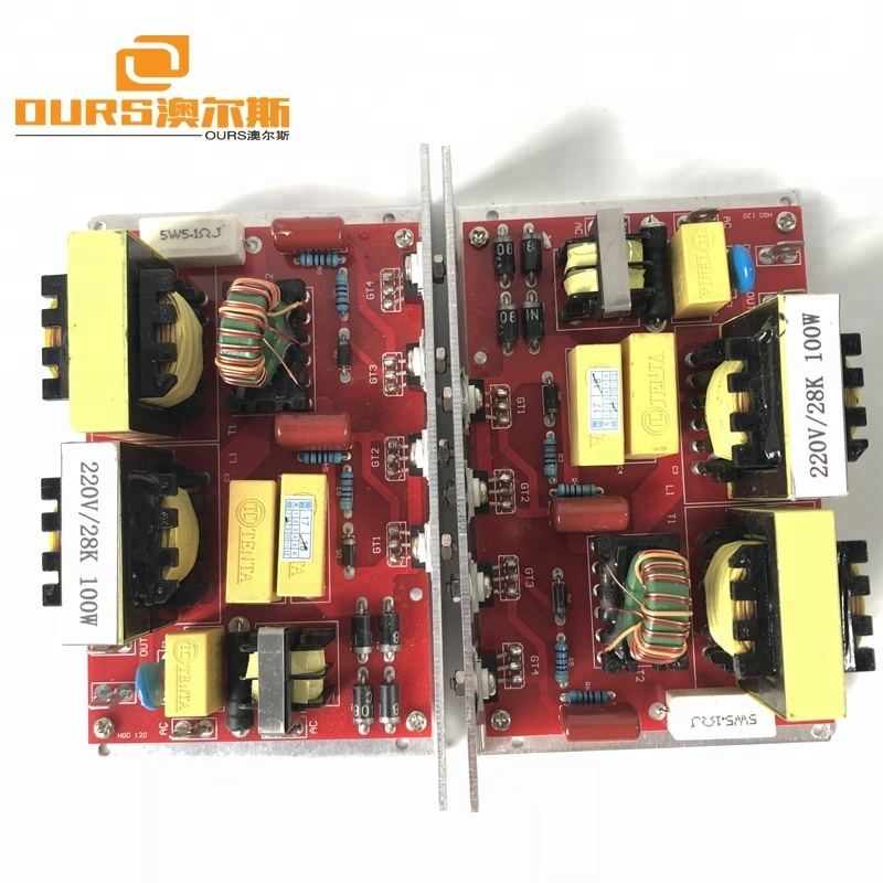 100W/28khz Ultrasonic Generator PCB 220V with two 28khz ultrasonic cleaning transducer