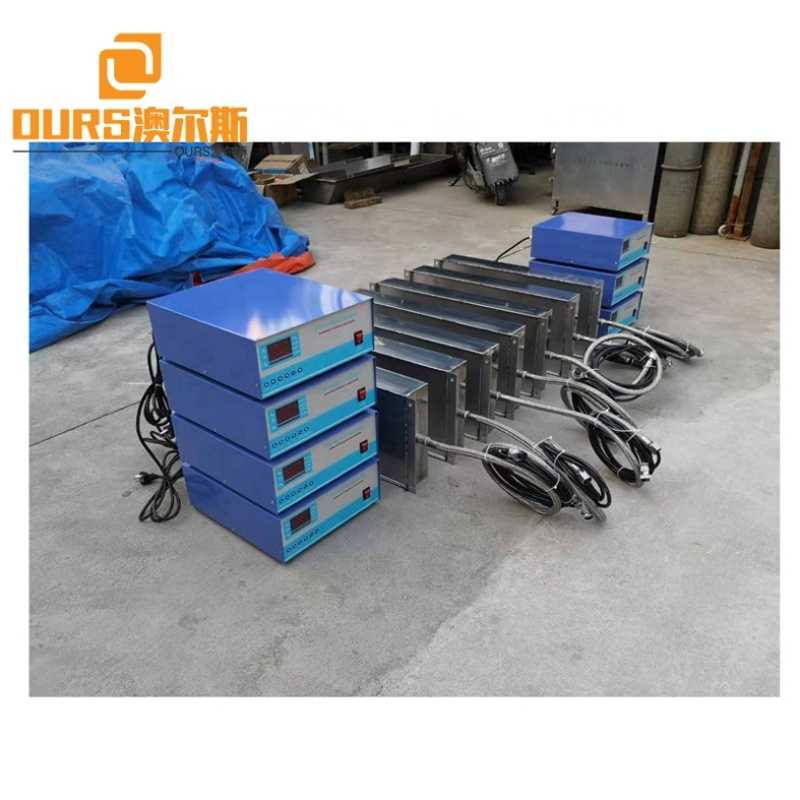 Large Water Bath Immersible Ultrasonic Sensor Pack For Cleaning Heavy Duty Engine Parts Aircraft Radiator 7000W 28K