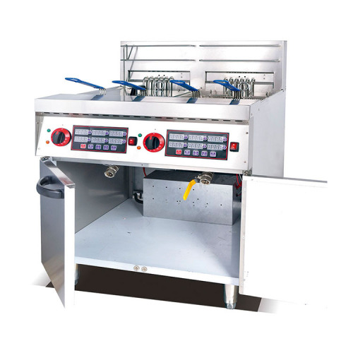 Digital Type Industrial Stainless Steel Electric 2 Tank Potato French Fries Fryer (4-Basket) with Timer (28L/Tank)