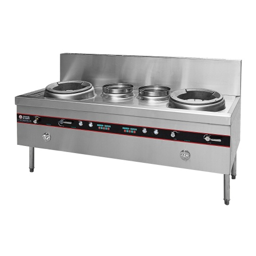 1.8m 2m  Gas Catering Equipment Chinese Restaurant Heavy Duty Commercial Kitchen 2 Wok Burner Blast Diffusion Burner Stove