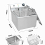 4-22L tank  Commercial Electric Fryer Double Cylinder French Fries Dough Sticks Machine String Potato Chips Tower Machine Fryer
