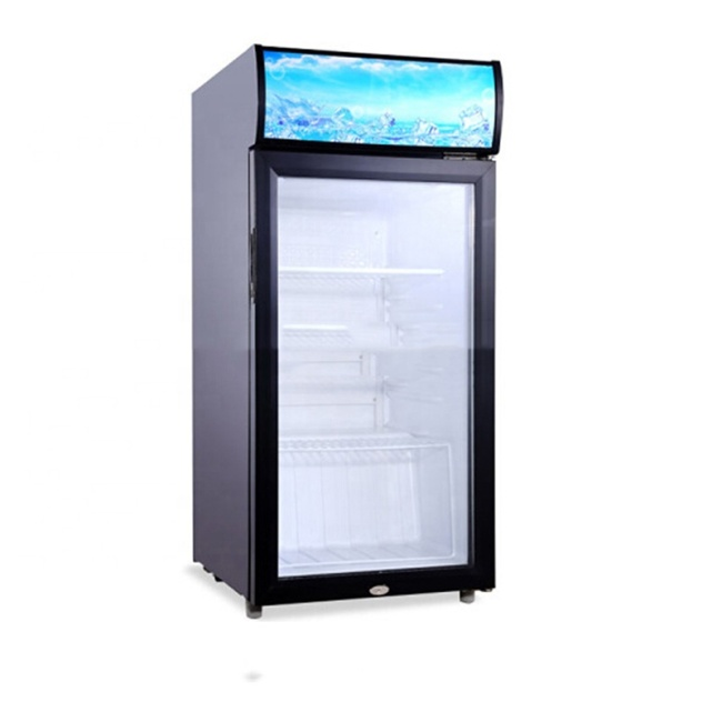 IS-SC-110D Single Door Vertical DC Frequency Conversion Solar Power Supply Light Box Display Freezer Refrigerated Cabinet