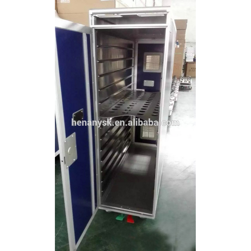 Stainless Steel 4-Wheel Dining Car Hand-Pushing Food Warmer Cart in Train Plane Hotel