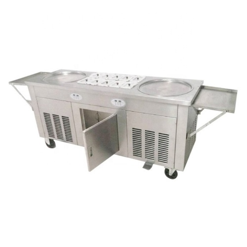 2 Pans 10 Topping Top Quality CE Ice Pan Machine Roller Machine For Ice Cream Makers