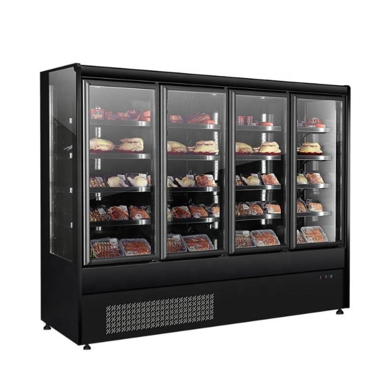 Black Color 4 Door Supermarket Freezer Fan Cooling Fridge Refrigerator For Drinks Vegetables