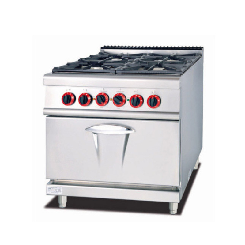 Commercial 4 Burners Gas Cooking Range Cooker Kitchen Equipment With Gas Electric Oven