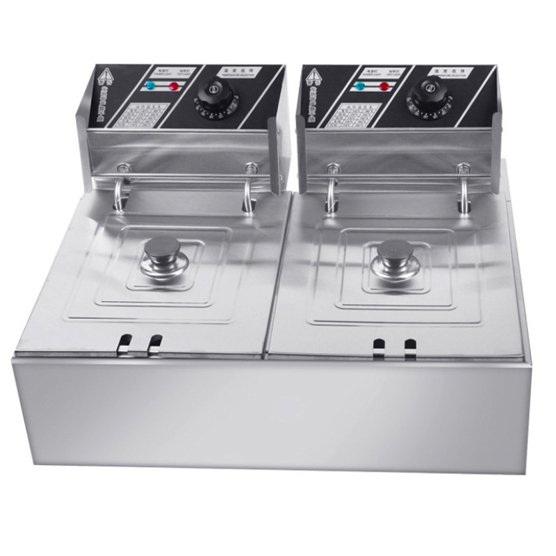 6L+6L Electric Fryer 82 Double Cylinder Stainless Steel Commercial Large Capacity Fried Chicken Hamburger Fryer