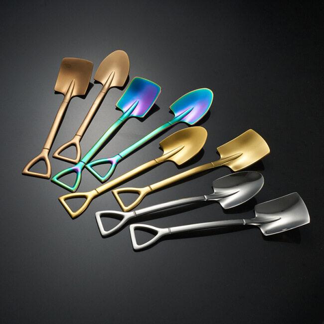 Creative Retro Spade Coffee Spoon 304 Stainless Steel Gold Dessert Spoon Watermelon Square Shovel Sharp End Cake Spoon