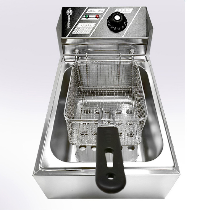 6L Desktop Electric Furnace Fried Chicken Fryer Commercial French Fries Fryer Thickened Single Cylinder Deep Fryer