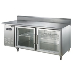 1.5m Worktable Refrigerator with Glass Under Counter Table Sandwich Prep Table