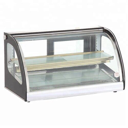 Commercial Desktop Arc Thermal Insulation Bread Egg Tart Food Cake Warming Glass Food Warmer Display Showcase