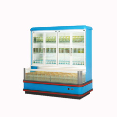 upper refrigerator bottom freezer Supermarket Vegetable Showcase cooler Fan Cooling Fridge For Drinks Vegetables