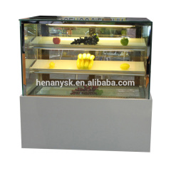 Japanese Style 3 Layers Marble Materials Right Angle Cake Showcase Display Glass Display Showcase Freezer