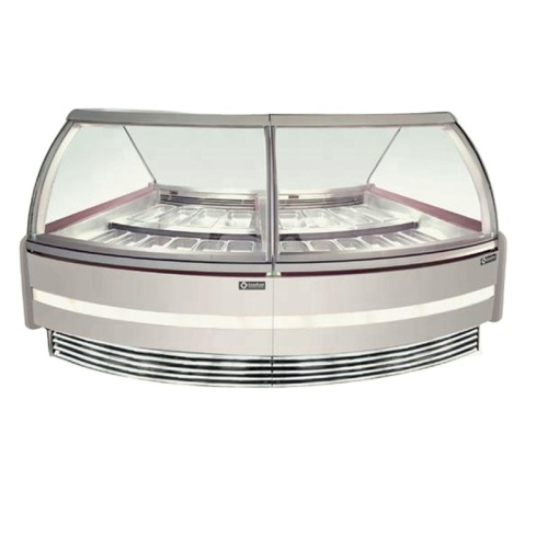 2 sets High Quality Led Commercial Hard Ice Cream Curved Corner Glass Display Cabinets Showcases Cabinet From China Factory