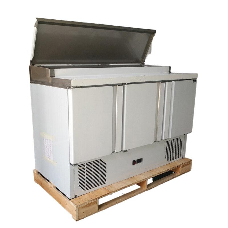Stainless Steel 1/3 GN Pans Supermarket Commercial Salad Refrigerator Fan Cooling 2-10degrees Vegetable Fruit Freezer Workbench