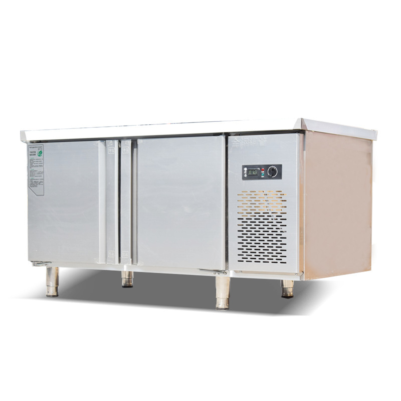 Cold Storage Stainless Steel Fresh-keeping Worktable Kitchen Equipment Refrigeration Milk Tea Shop Double Temperature Cabinet