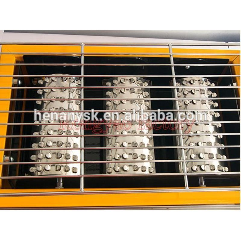 IS-ET-K122-B 3-Head Environmental Roaster Gas Steel Grill Barbecue With Glass Steel Plate Cover Fire Board