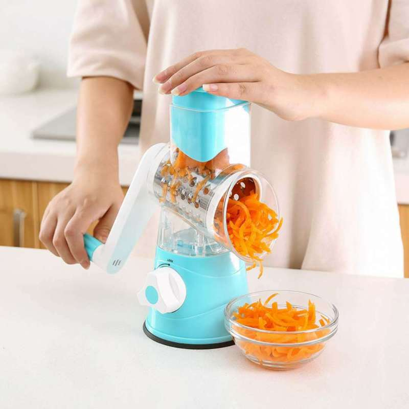 Home Rotary Cheese Grater Shredder 3 Drum Blades Manual Vegetable Slicer Nut Grinder with Strong Suction Base