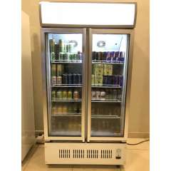 Black White Commercial Glass Fridge 2 Glass Door Vertical Chiller Refrigerator Display Drink Showcase
