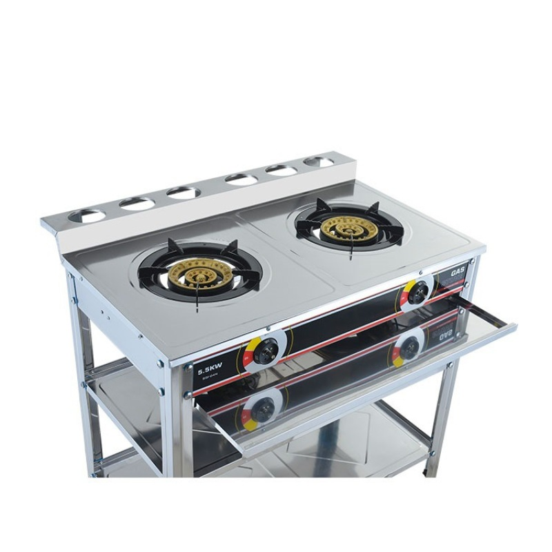 Portable Wok Cooker LPG Catering Burner Vertical Double Stove With Shelf Gas Stove Super Large Firepower Commercial