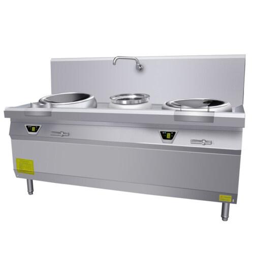 15kw Professional Large Freestanding Induction Cooker Round Restaurant Induction Hot Pot 2 Wok Burner Range School Hotel 15kw