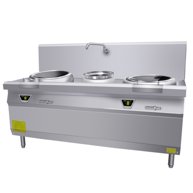 15kw Professional Large Freestanding Induction Cooker Round Restaurant Induction Hot Pot 2 Wok Burner Range School Hotel 15kw