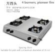 4 burners, pioneer fire
