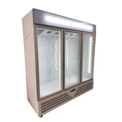 1880mm White / Black 3 Glass Door Commercial Glass Fridge Vertical Chiller Refrigerator Display Drink Showcase fan cooling