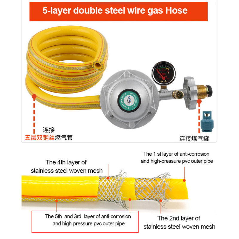 Household Safety Low Pressure Explosion-proof Double Nozzle  Cylinder Gas Pressure Reducing Regulator Valve