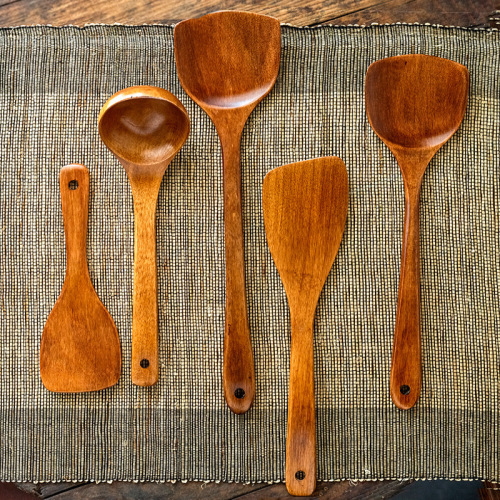 Natural Cork Wooden Spatula And Spoon Set Non Stick Special Long Handle Spatula Cooking Kitchen Utensils Cookware