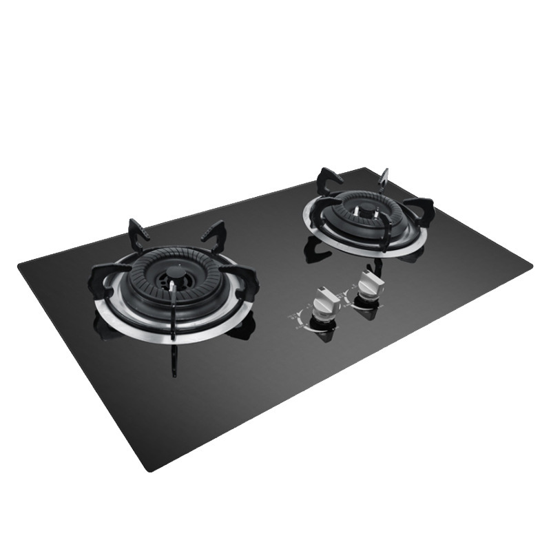 Lpg Ng Spot Wholesale Fierce Fire Double Gas Stoves With Steel Cover And Plate For Glass Household Kitchen Gas Cooker Range