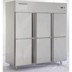 -5~-18C High Quality Fan Cooling Vertical Commercial 6 Doors Compressor Freezer Kitchen Cooler Fridge Frozen Cabinet