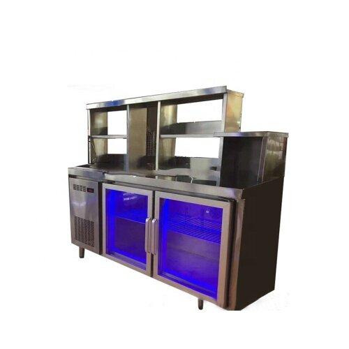 1.5m Stainless Steel Blue Light Worktable Fridge, Salad Worktop Fridge Chiller with Blue Light