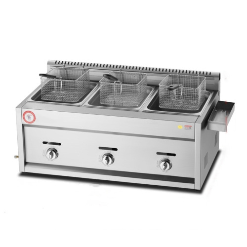 Hot Sale Pig Iron burner Stainless Steel Fries 2-3 Baskets LPG Gas Deep Fryer Potato French Fryers Machine with many Gifts