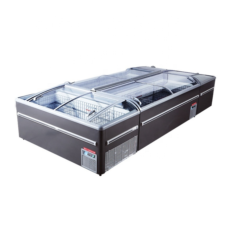 1.8m 2.1m 2.5m Reliable Quality Display Combined Double Doors Island Freezer Commercial Industrial Freezer For Supermarket