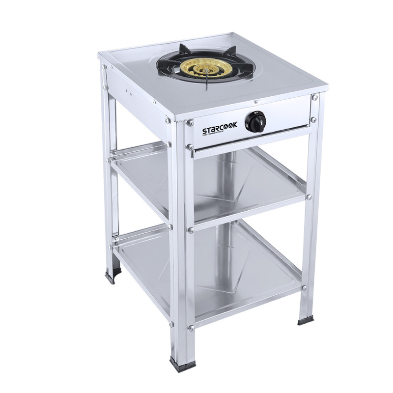 Gas Portable Wok Cooker LPG Catering Burner Vertical Single Stove With Shelf Gas Stove Super Large Firepower Commercial Range