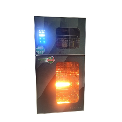 Infrared Ozone  upper layer 65degrees ; Bottom Infrared Disinfection Cabinet 125degrees hot selling Kitchen Home use Glass panel