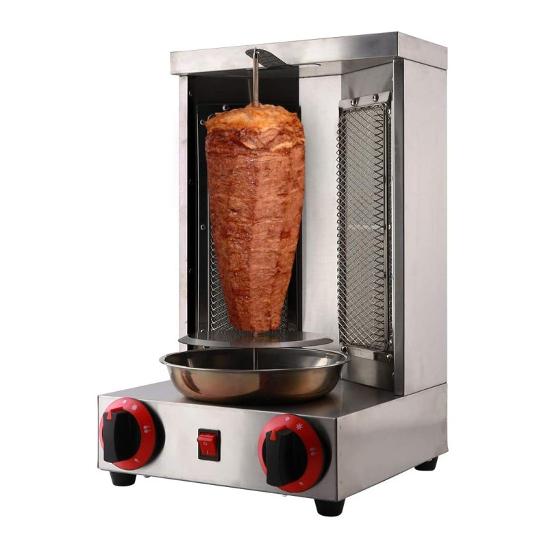 Mini Gyro LPG Gas Grill Machine 2 Burners Vertical Broiler Shawarma Doner Kebab Machine Middle easy Roaster oven