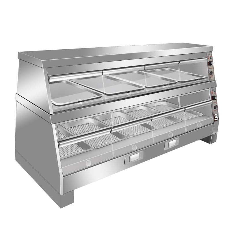 1500mm Commercial Display Showcase Food Warmer Displayer Bread Showcase With 2 Layer 7 Pans