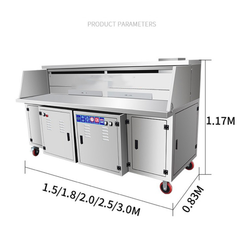 Mobile Grill Food Cart Water Electricity Double Filtration Smokeless Barbecue Oven Truck Commercial Night Market Stall Charcoal