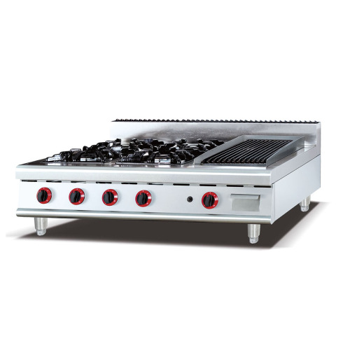 GH-999-1 Smaller Table Work Kitchen Heavy Duty 4 cooktop burner Gas Cooking Range with Griddle