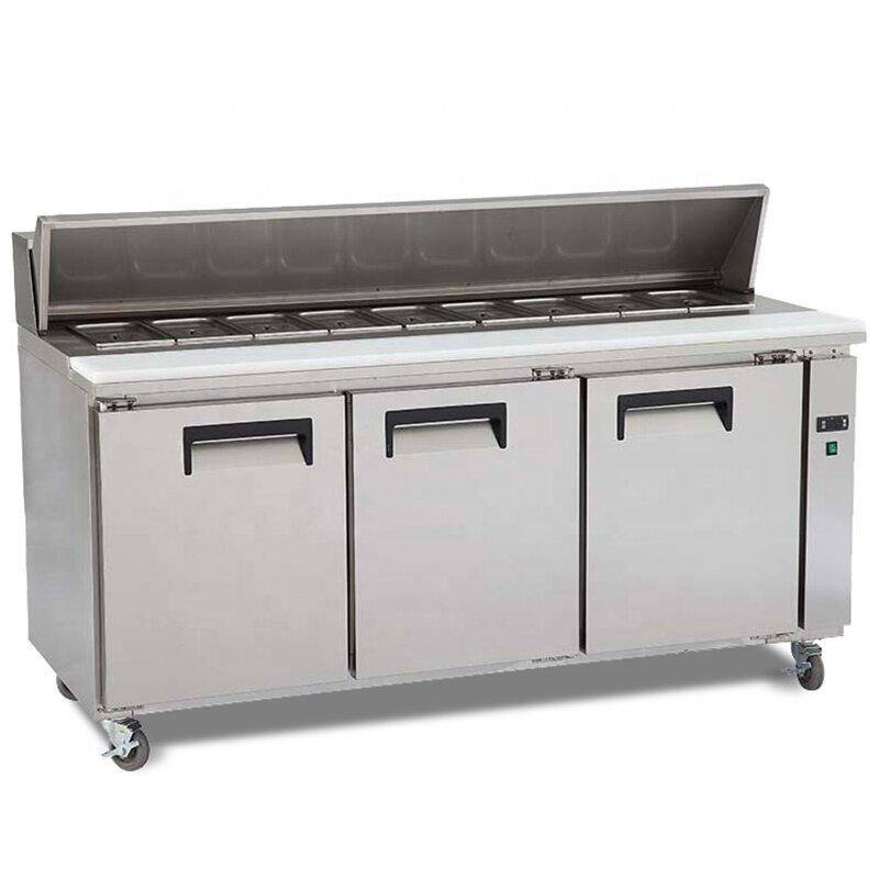 3 Door Pizza Counter Stainless Steel Restaurant Working Tables Kitchen Glass Freezer Commercial Display Salad Refrigerator