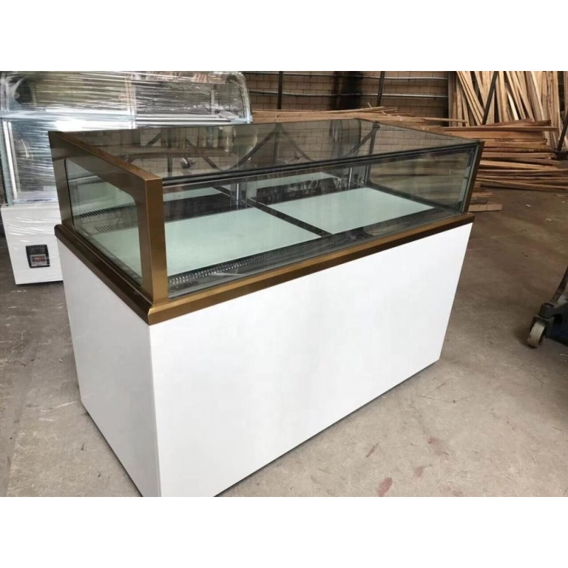 Vertical Cake Bakery Display Cabinet LED Marble  Stainless Steel Cake Refrigerator Showcase