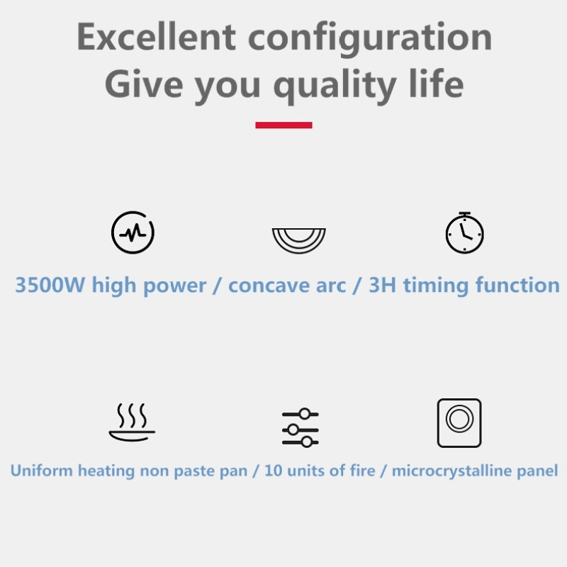 3500w High Power Induction Cooker Electric Household Big Cooker Restaurant Hot Pot Fried Concave Electromagnetic Furnace Stove