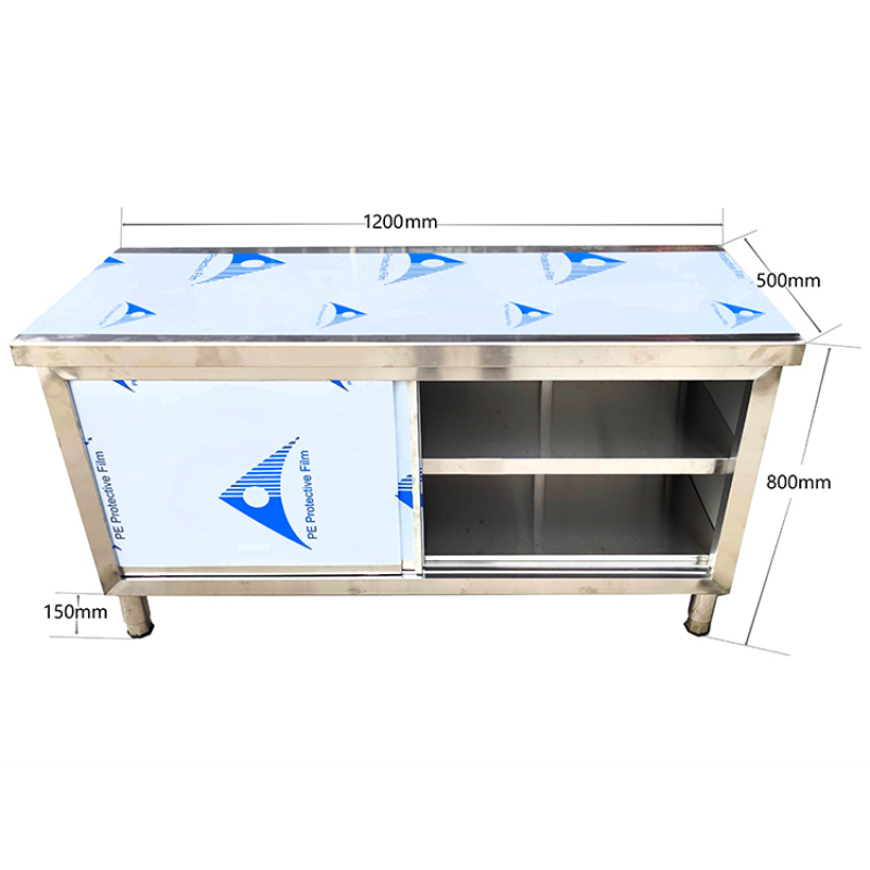 1m 1.5m 2m 201 304 Stainless Steel Kitchen Work Table Cabinet Base Cabinet Drawer / Sliding Doors